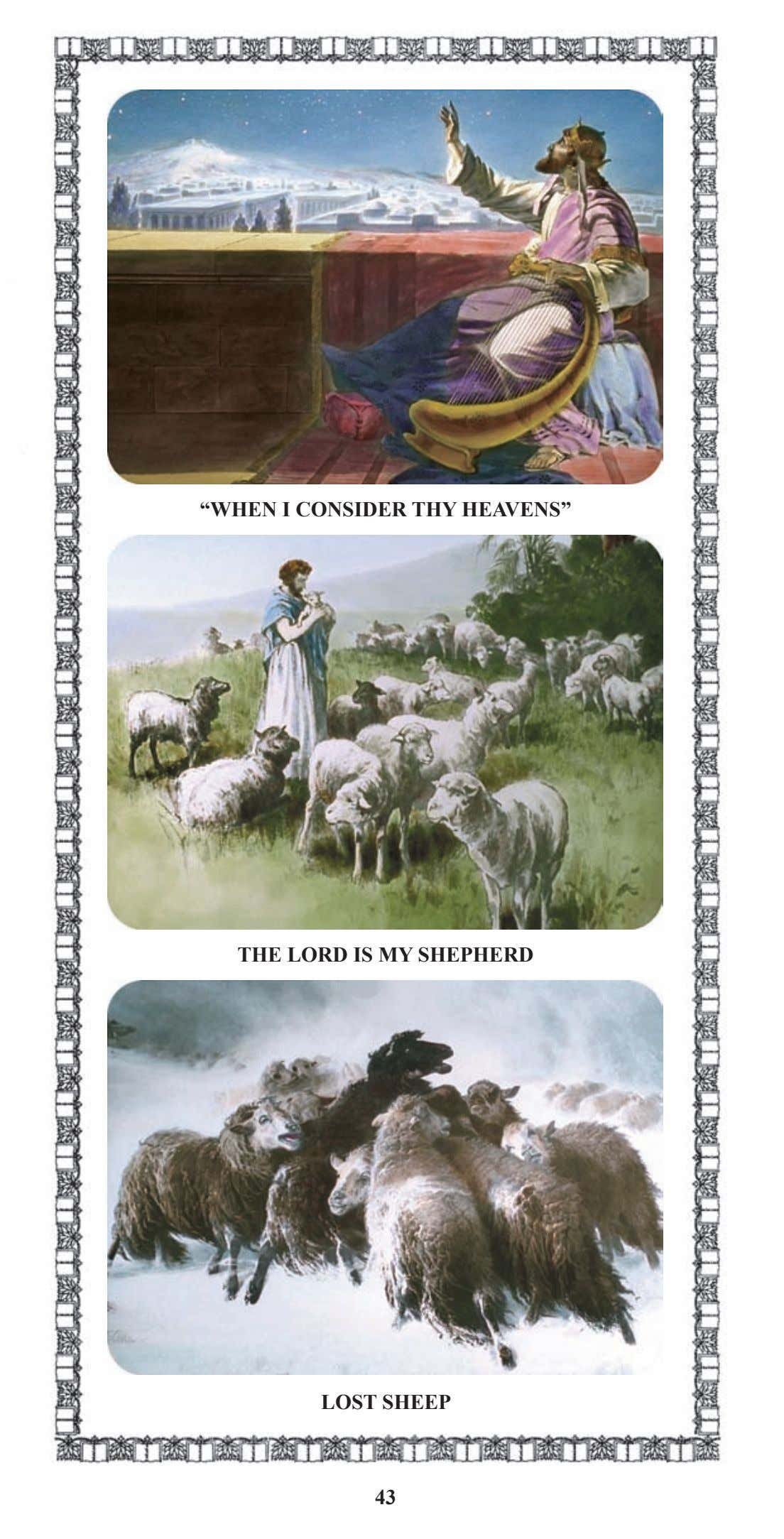 """WHEN I CONSIDER THY HEAVENS"" THE LORD IS MY SHEPHERD LOST SHEEP 43"