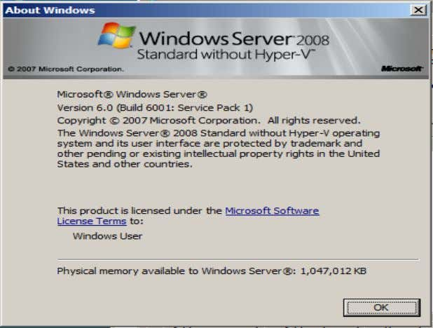 type the following command to verify the Windows OS: winver Figure 28: Windows 2008 Standard without