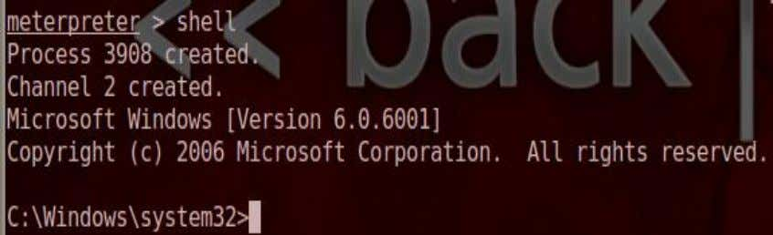 get a command prompt on the victim meterpreter > shell Figure 43: A Command Prompt 6.