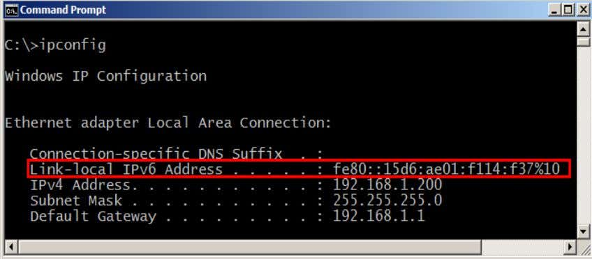 command to view your IPv4 and IPv6 addresses: C:\ ipconfig Figure 6: The IPv4 and IPv6