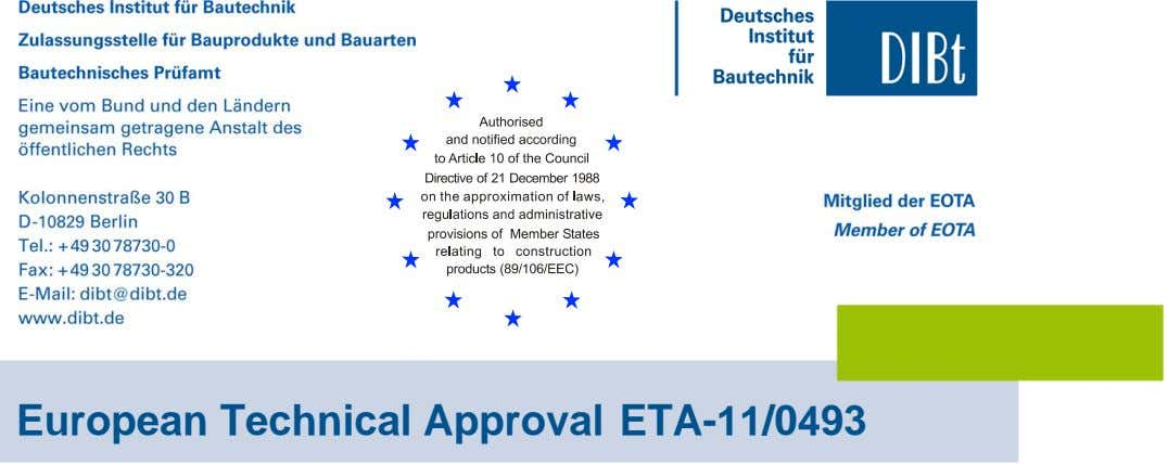 European Technical Approval ETA-11/0493