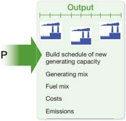 Output Build schedule of new generating capacity Generating mix Fuel mix Costs Emissions
