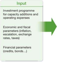 Input Investment programme for capacity additions and operating expenses Economic and fiscal parameters (inflation,