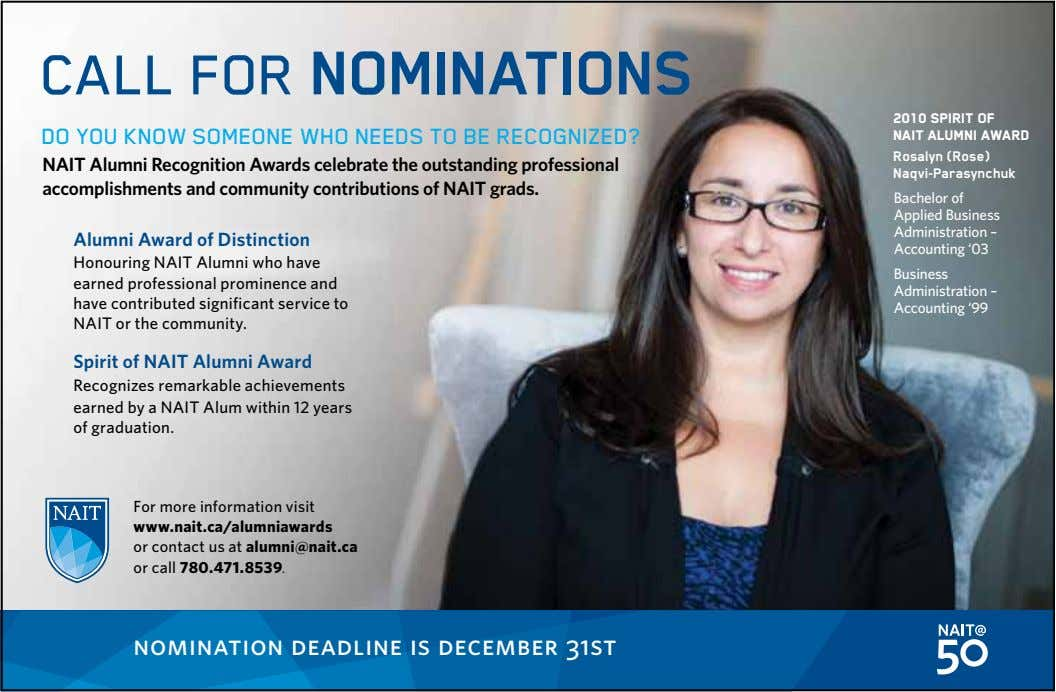 CALL FOR NOMINATIONS DO YOU KNOW SOMEONE WHO NEEDS TO BE RECOGNIZED? 2010 SPIRIT OF NAIT