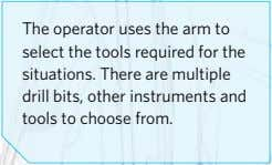 The operator uses the arm to select the tools required for the situations. There are multiple