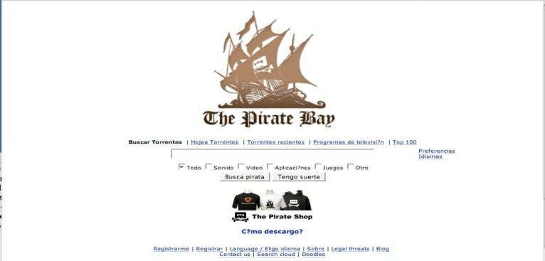 de intercambio de archivos. Su estructura es Web Site The Pirate Bay is the worlds largest