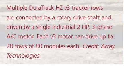 Multiple DuraTrack HZ v3 tracker rows are connected by a rotary drive shaft and driven