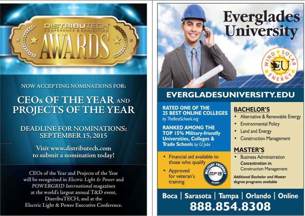 NOW ACCEPTING NOMINATIONS FOR: EVERGLADESUNIVERSITY.EDU CEOs OF THE YEAR AND PROJECTS OF THE YEAR RATED