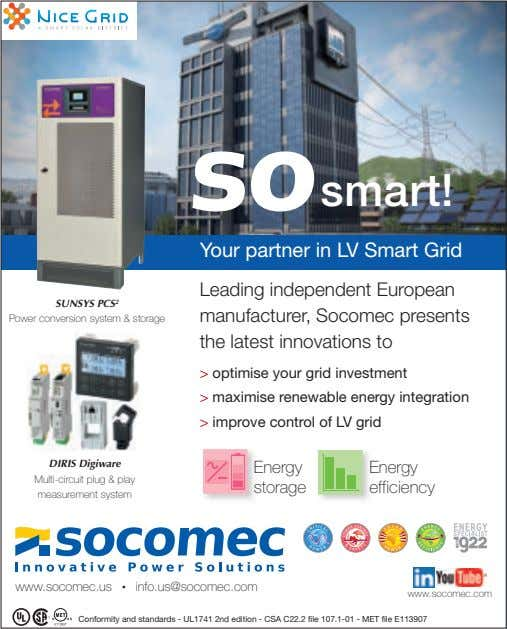 smart! Your partner in LV Smart Grid SUNSYS PCS 2 Power conversion system & storage