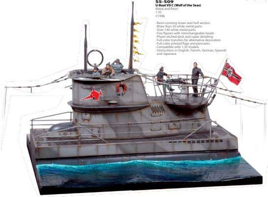 S5-S09 U-Boat VII C (Wolf of the Seas) Metal and Resin 1:32 ©1996 · Resin