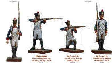 · 3 figures · 3 figures NA-008 NA-009 NA-010 Line Infantry Private Standing, Firing (1810)