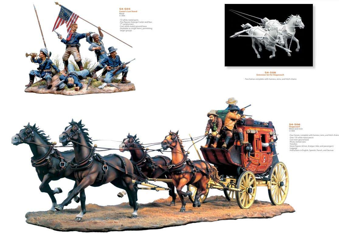 54mm S4-S05 Custer's Last Stand Metal ©1994 · 72 white metal parts · Five figures