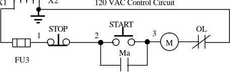 120 VAC Control Circuit START STOP 3 OL 1 2 M Ma FU3 Circuit Description In