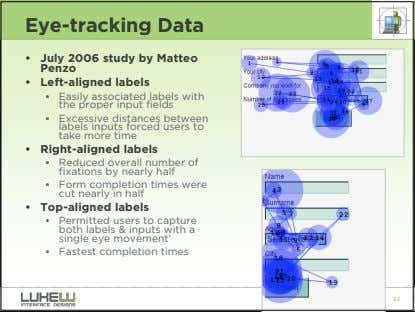 Eye-tracking Data • July 2006 study by Matteo Penzo • Left-aligned labels • Easily associated