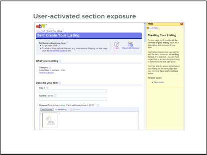 User-activated section exposure 57