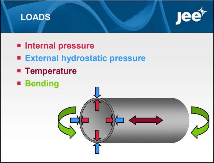 LOADS  Internal pressure  External hydrostatic pressure  Temperature  Bending