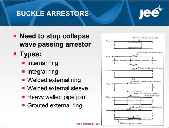 BUCKLE ARRESTORS  Need to stop collapse wave passing arrestor  Types:  Internal ring