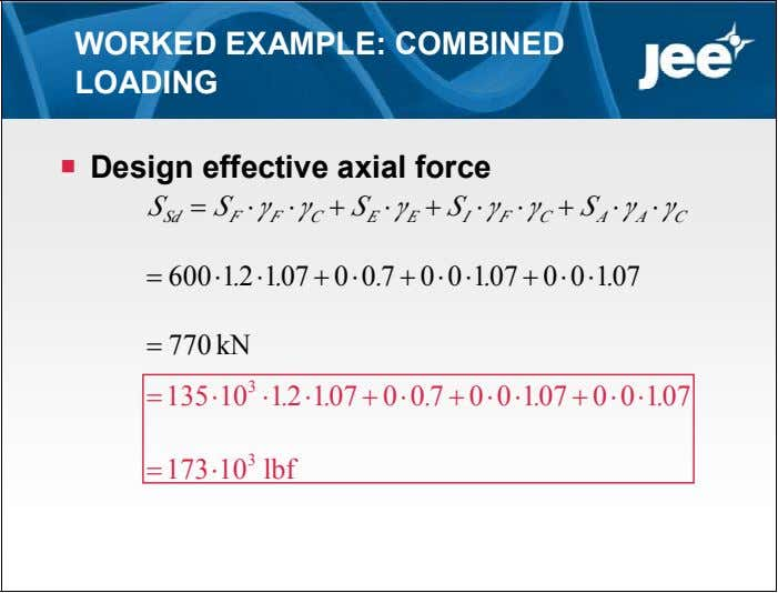 WORKED EXAMPLE: COMBINED LOADING  Design effective axial force S  S  γ 