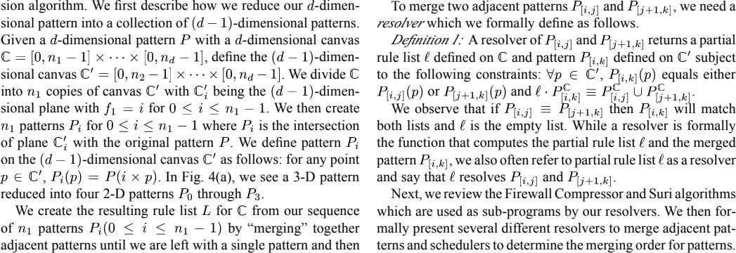 sion algorithm. We first describe how we reduce our -dimen- To merge two adjacent patterns