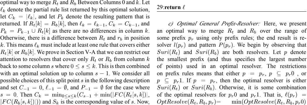 optimal way to merge and Between Columns 0 and . Let 29:return denote the partial