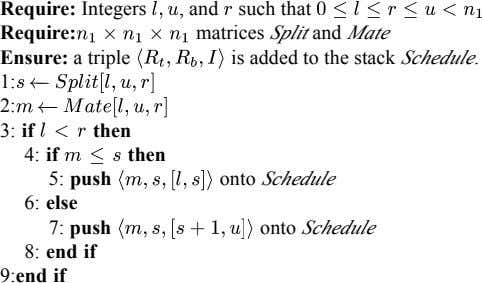 Require: Integers , and such that Require: matrices Split and Mate Ensure: a triple is
