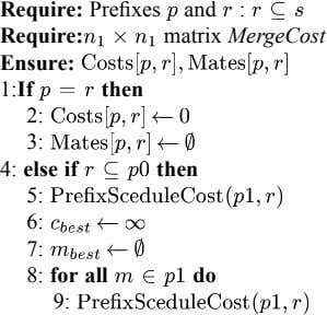 Require: Prefixes and : Require: matrix MergeCost Ensure: 1:If then 2: 3: 4: else if