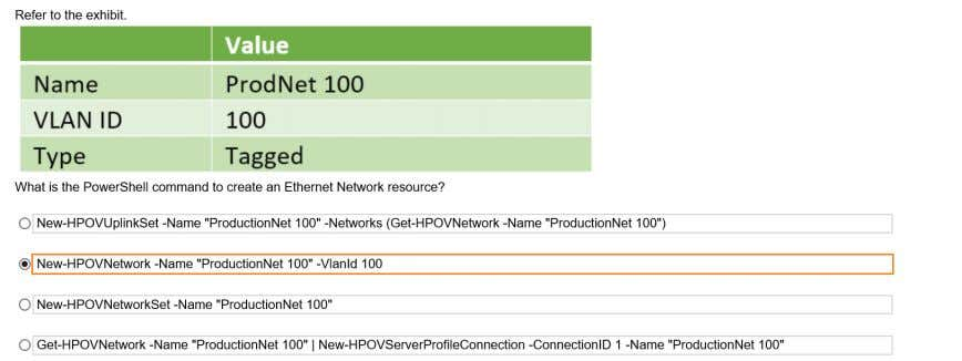 as preferrred and maximun bandwidth Correct: networks Q138 Q139: Match the minimun HPE OneView required to