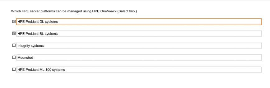 Which HPE server platforms can be managed using HPE OneView? Q142 Which HPE Oneview feature enables