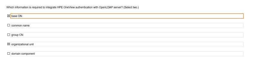 integrate HPE OneView authentication with OpenLDAP server? Q147 Refer the exhibit Q148 How are HPE OneView