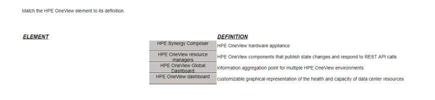 Polling Q28 Match the HPE OneView element to its definition Q29 Where can an administrator select