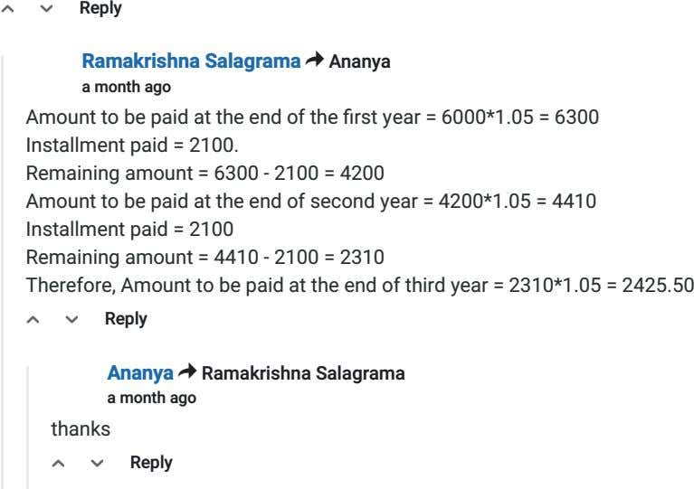 △ ▽ Reply Ramakrishna Salagrama > Ananya a month ago Amount to be paid at