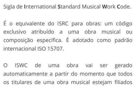 Sigla de International Standard Musical Work Code. É o equivalente do ISRC para obras: um