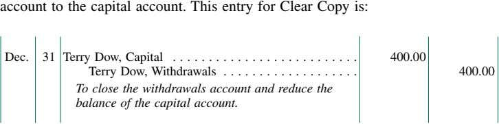 account to the capital account. This entry for Clear Copy is: Dec. 31 Terry Dow,