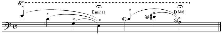 is plucked on the A string. Example 7.3. Harmonic chords These chords comprising of natural harmonics