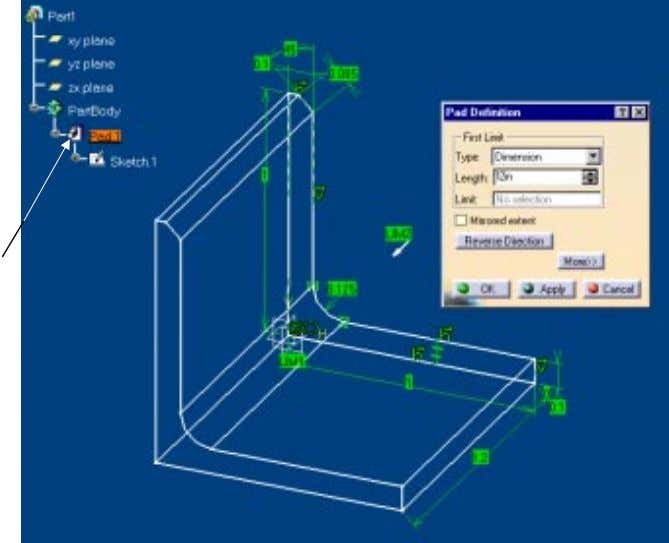 be normal to the sketch plane. The Specification Tree just New branch added Figure 1.36 CATIA
