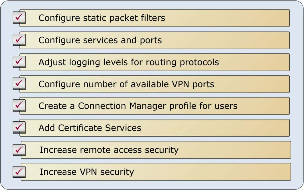  Configure static packet filters  Configure services and ports  Adjust logging levels for routing