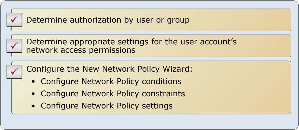  Determine authorization by user or group  Determine appropriate settings for the user account's network