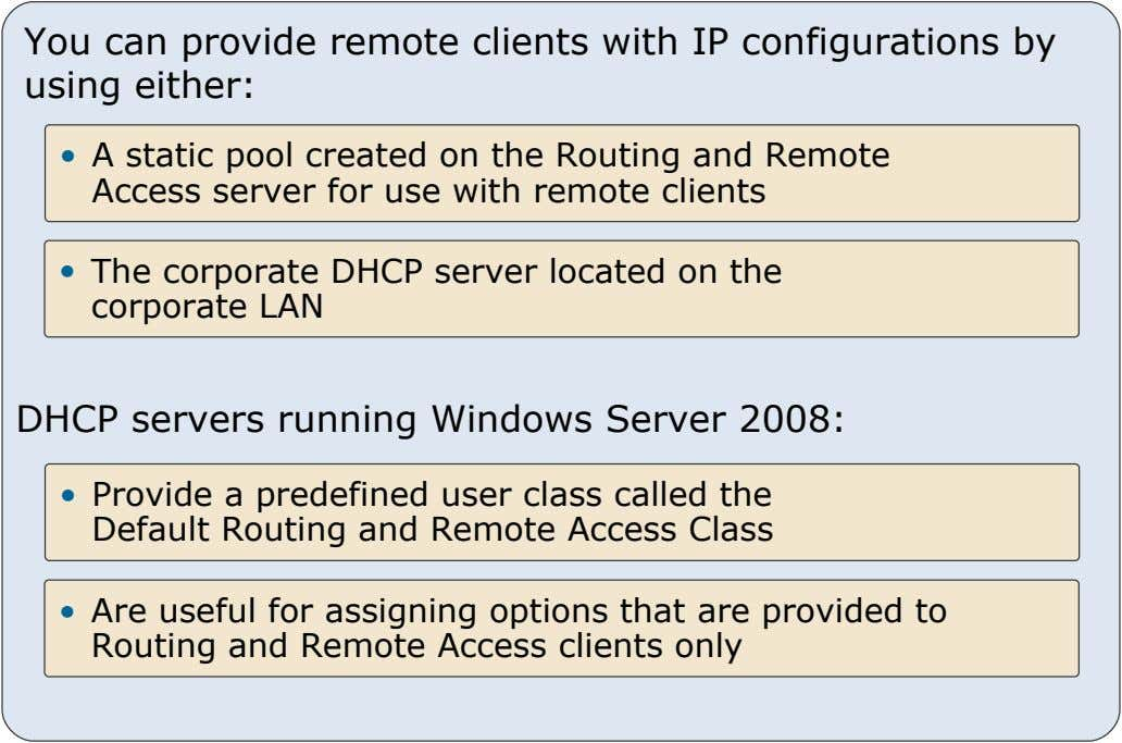 You can provide remote clients with IP configurations by using either: • A static pool created