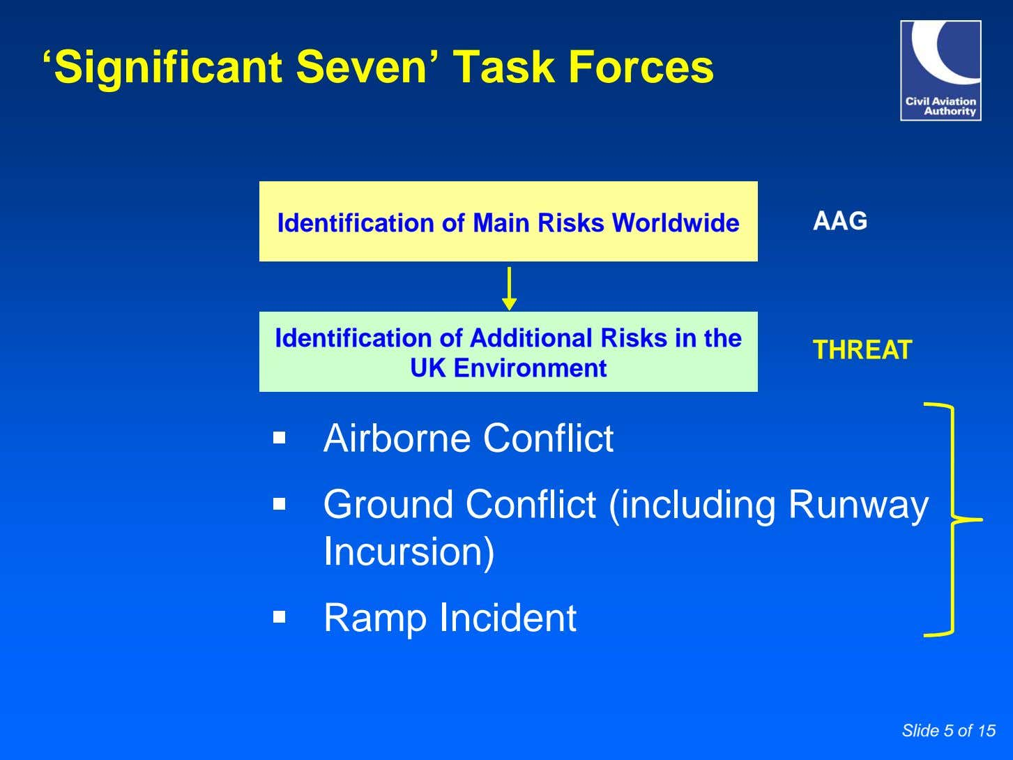 'Significant Seven' Task Forces Identification of Main Risks Worldwide AAG Identification of Additional Risks in