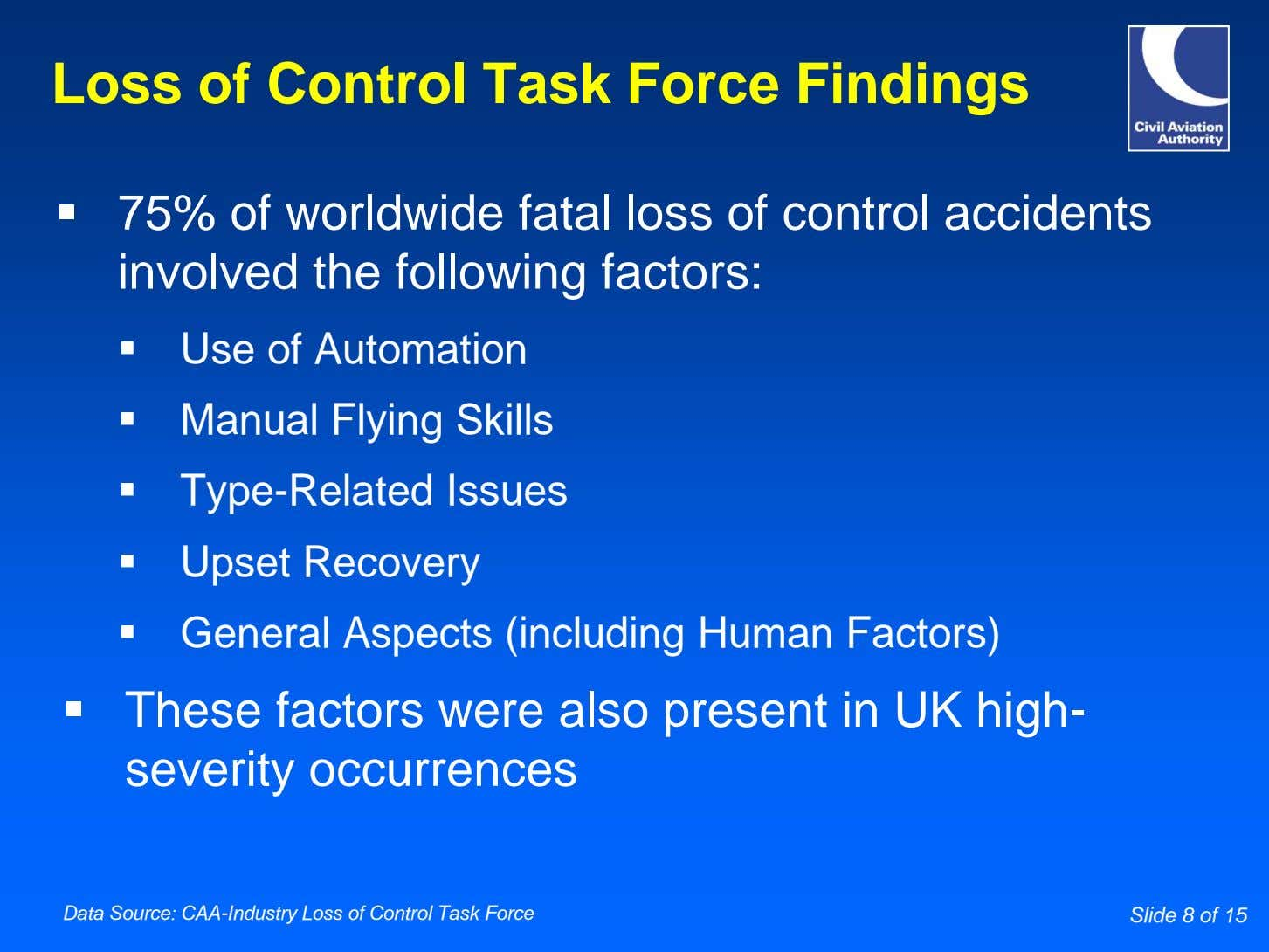 Loss of Control Task Force Findings 75% of worldwide fatal loss of control accidents involved