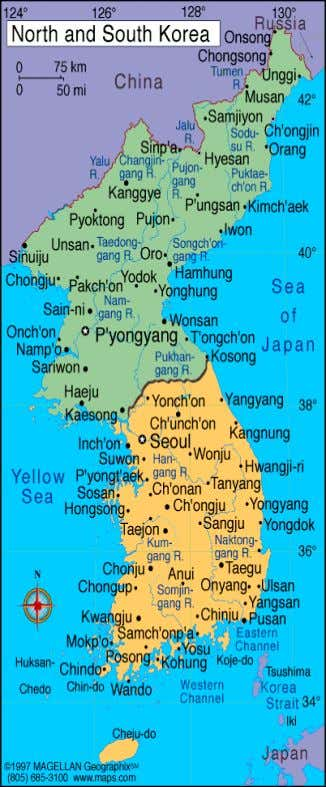 Geography Located between 38o longitude and 43o latitude, North Korea has a continental climate with four