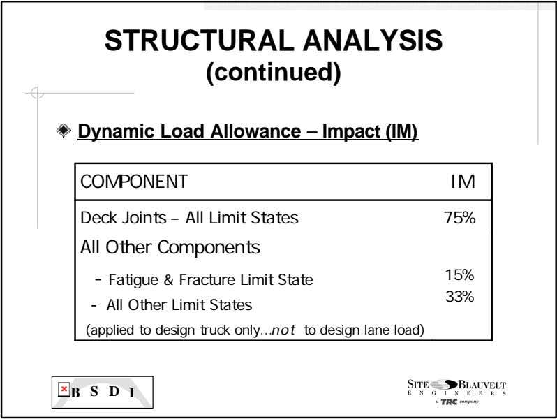 STRUCTURAL ANALYSIS (continued) Dynamic Load Allowance – Impact (IM) COMPONENT IM Deck Joints – All