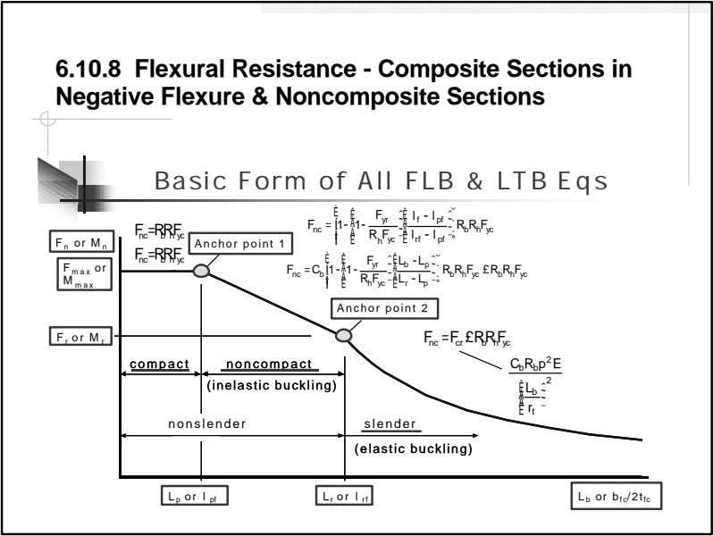 6.10.8 Flexural Resistance - Composite Sections in Negative Flexure & Noncomposite Sections Basic Form of