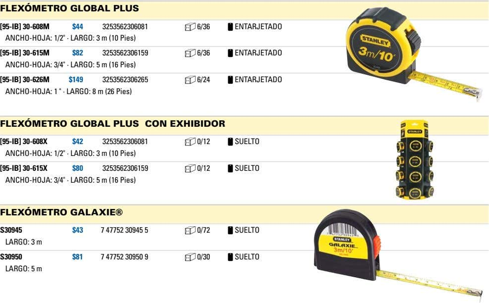 "fLexómetro gLobaL pLus [95-IB] 30-608M $44 3253562306081 b 6/36 c ENTArjETADO ANChO-hOjA: 1/2"" · LArgO:"