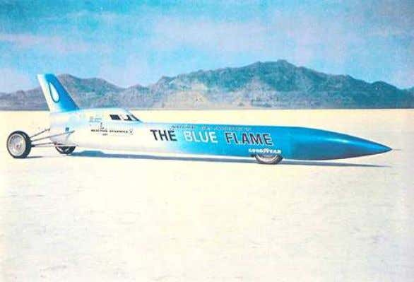 "Rocket driven ""Blue Flame"" 1001,671 km/h, 1970 Thrust SSC Super Sonic Car 2 turbo jet engines"