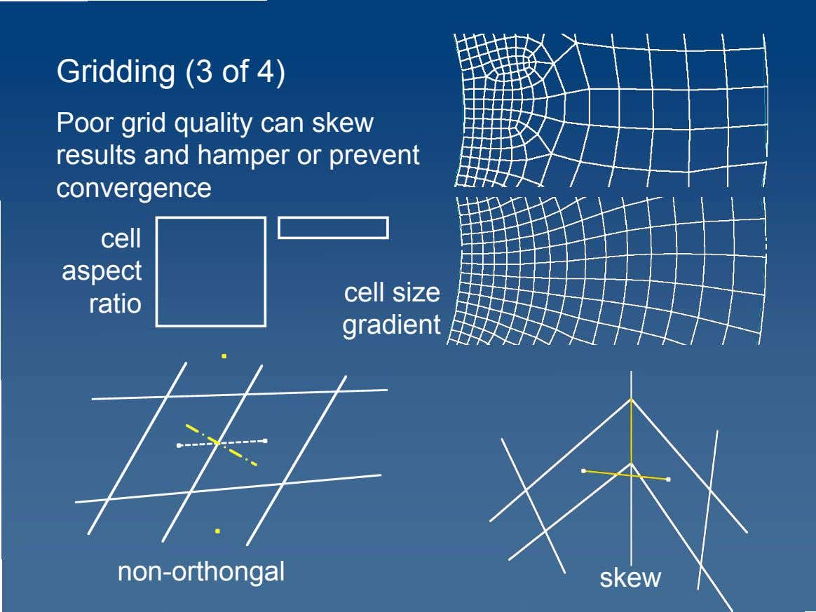 Gridding (3 of 4) Poor grid quality can skew results and hamper or prevent convergence