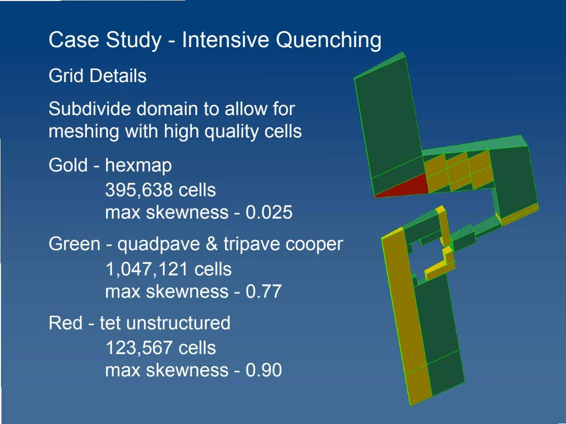 Case Study - Intensive Quenching Grid Details Subdivide domain to allow for meshing with high