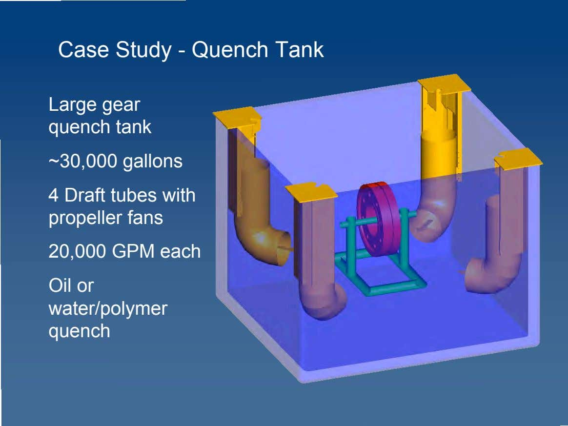 Case Study - Quench Tank Large gear quench tank ~30,000 gallons 4 Draft tubes with