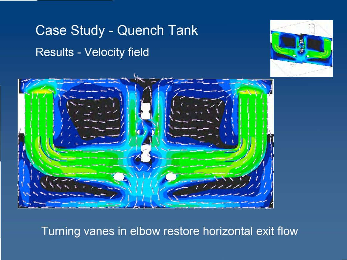 Case Study - Quench Tank Results - Velocity field Turning vanes in elbow restore horizontal