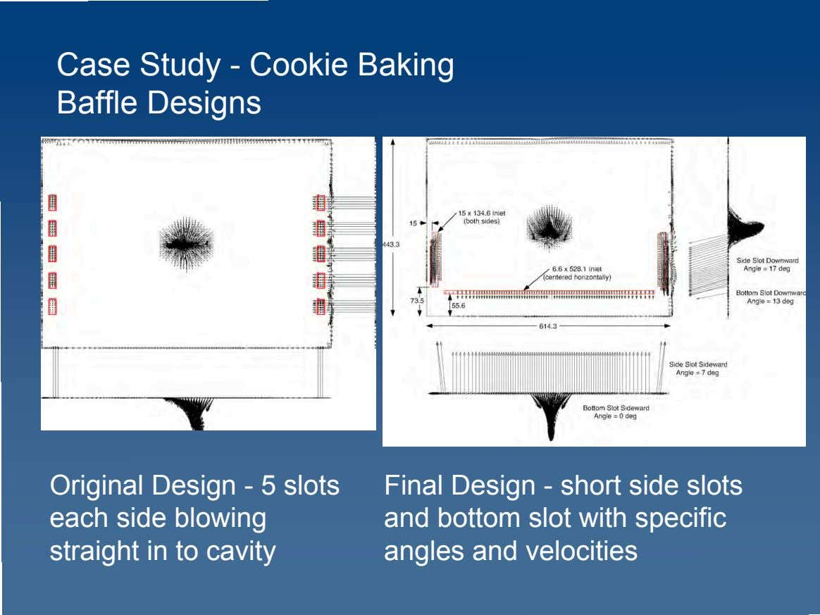 Case Study - Cookie Baking Baffle Designs Original Design - 5 slots each side blowing